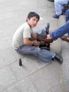Gregorio - hard at work, shoe-shining