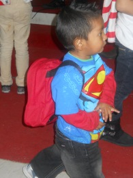 Diego enjoying his new backpack!